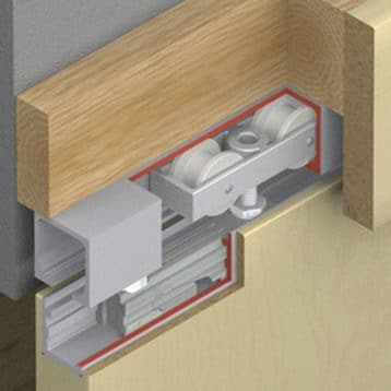 Cutaway of Hawa Junior 40/B sliding door hardware system.