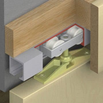 Cutaway of Hawa Junior 40/Z sliding door hardware system.