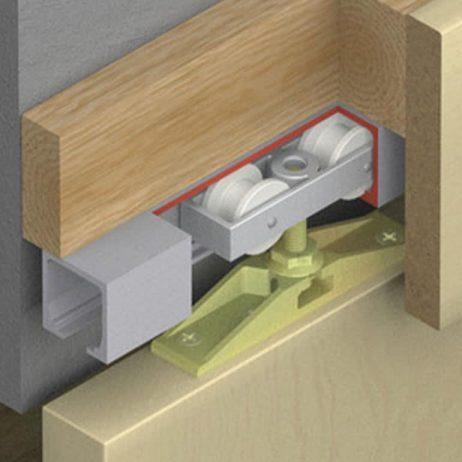 Cutaway of Hawa Junior 40/Z sliding door hardware system.