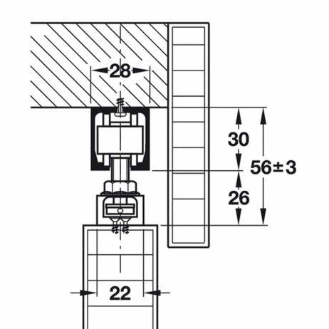 Inline view of Hawa Junior 40/Z sliding door system.