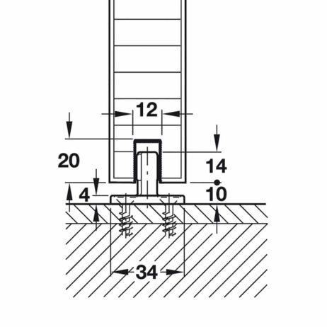 Diagram of floor guide rail in Hawa Junior 40/Z.