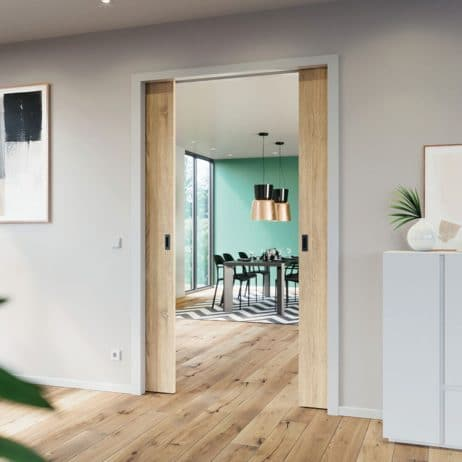 Hawa Junior 80/Z biparting pocket doors in contemporary residence.