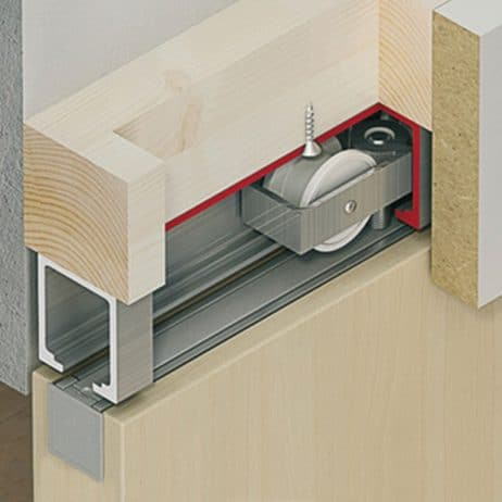 Cutaway of Hawa Junior 80/B sliding door hardware system.