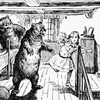 Printed image of Goldilocks running from the three bears.