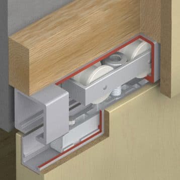Cutaway illustration of Hawa 120/B sliding door hardware system.
