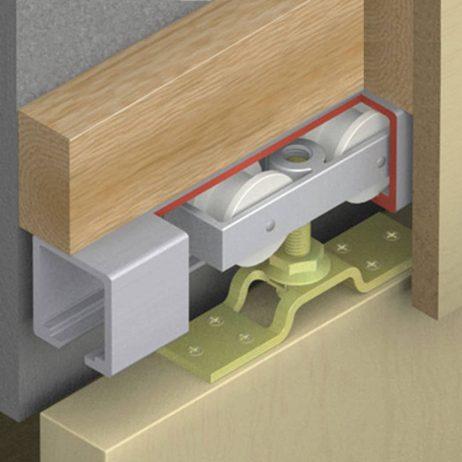 Cutaway of Hawa Junior 120/A sliding door hardware system.