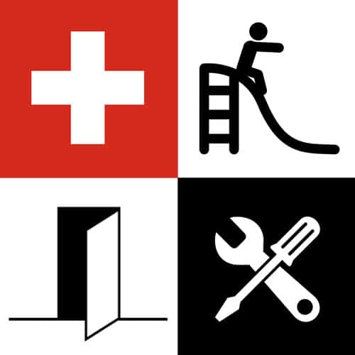 "High contrast rebus depicting the phrase ""Swiss sliding door hardware""."