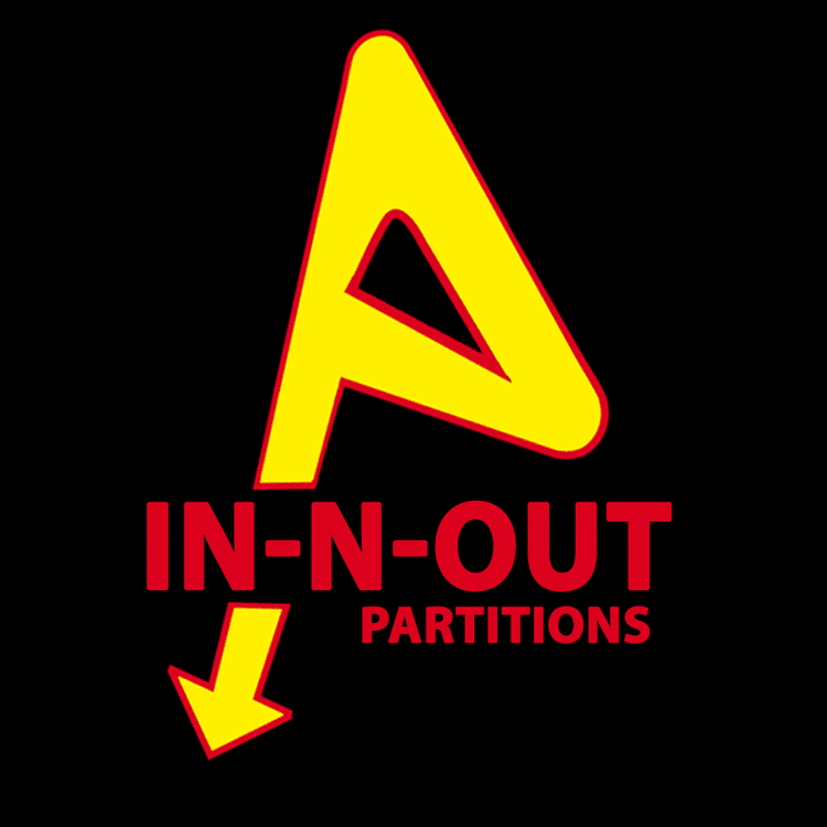 Logo against black background for fictional In-N-Out Partitions company.