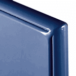 Close up photograph of blue powder coated steel panel corner.