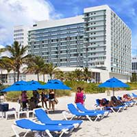 Photograph of a large Orlando, Florida hotel on the beach.