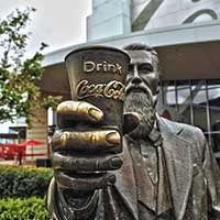Photograph of bronze statue of Coca Cola inventor, Atlanta, Georgia.