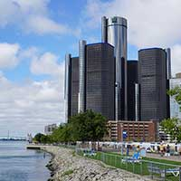 Photograph from river view of GM headquarters - The Renaissance Center.