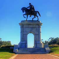 Photograph of large statue in Hermann Park in Houston, Texas.
