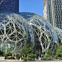 Photograph of glass and metal Amazon Spheres in Seattle, Washington.
