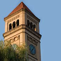 Photograph of large traditionally styled clock tower in Spokane, Washington.
