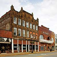 Photograph of quant, older buildings on a mainstreet, West Virginia.