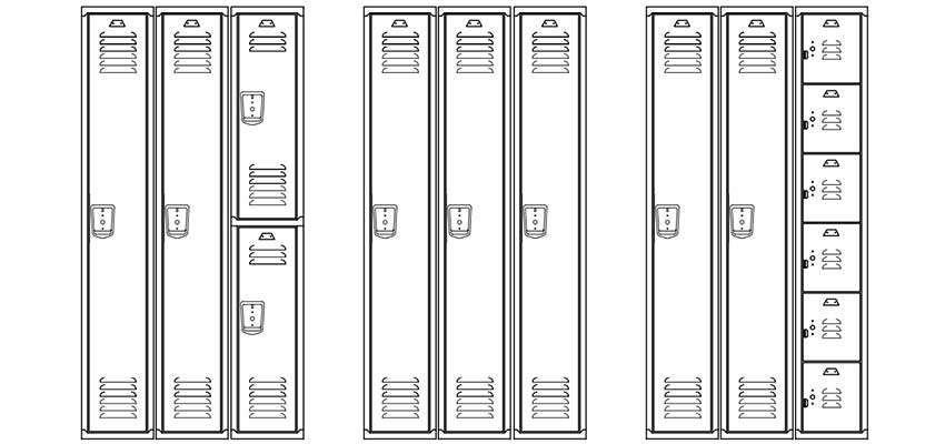 Line drawing of lockers, three banks of three frames.