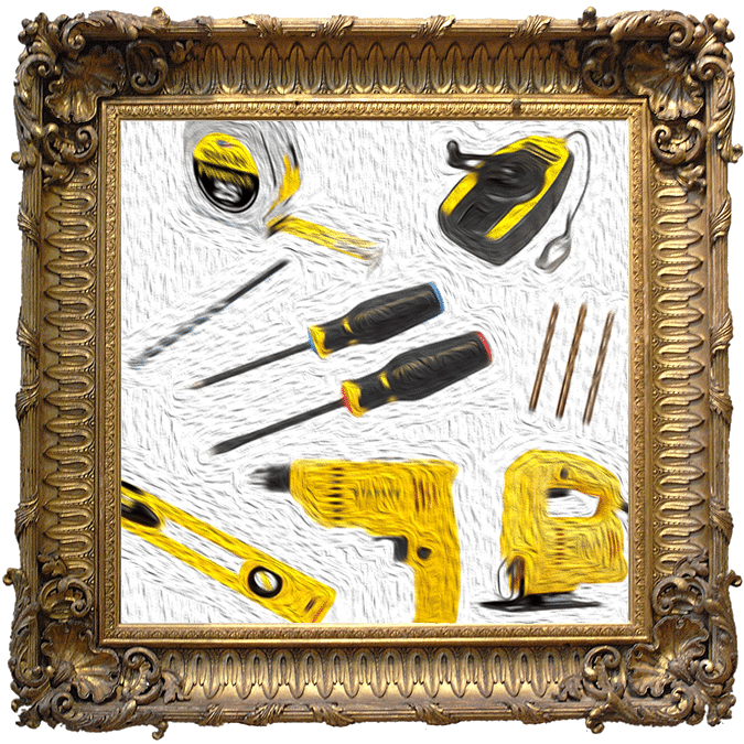 Composite image of a painting of construction tools.