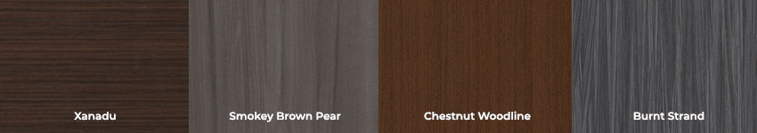 An image showing several wood grain examples.
