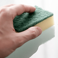 Image of a hand with sponge.