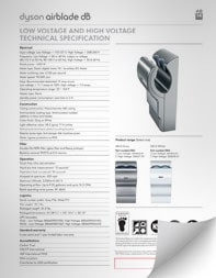 Thumbnail of the Dyson Airblade dB Hand Dryer Specification Sheet PDF