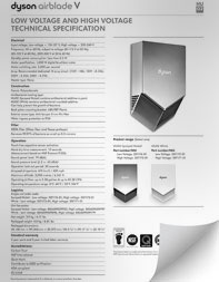 Thumbnail of the Dyson Airblade V Hand Dryer Specification Sheet PDF