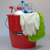 Photograph of a bucket of cleaning supplies.