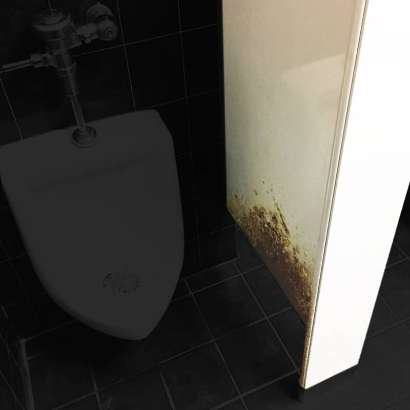 Modified photograph of rusted partition and urinal.