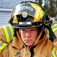 Photograph of female firefighter.
