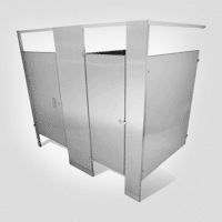 Image of two stall stainless steel partitions against white.