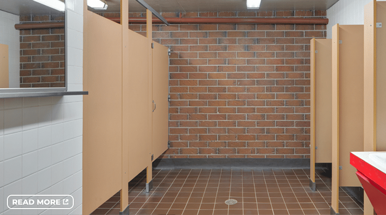 Composite toilet partitions.