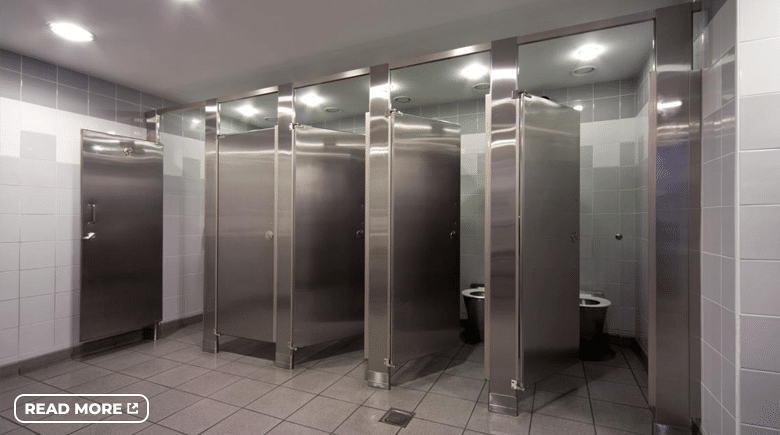 Stainless steel bathroom stalls.