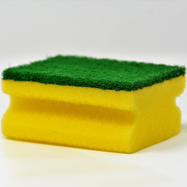 Photograph of yellow and green sponge.
