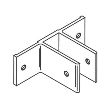 Line drawing of an aluminum, double ear, stirrup bracket from Scranton Products.