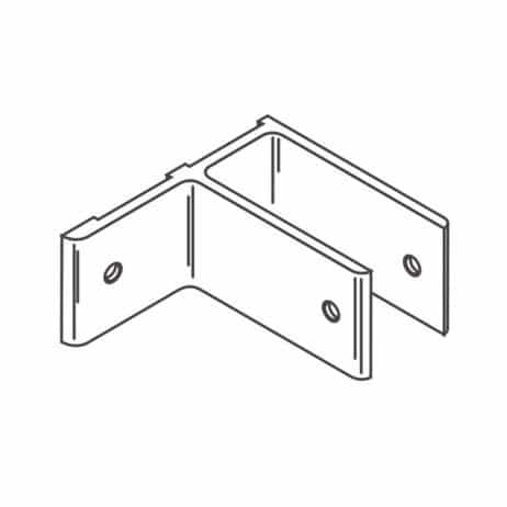 Line drawing of an aluminum, single ear, stirrup bracket from Scranton Products.