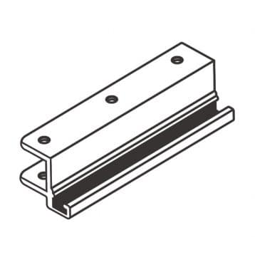 """Line drawing of a 6"""" aluminum strike from Scranton Products."""
