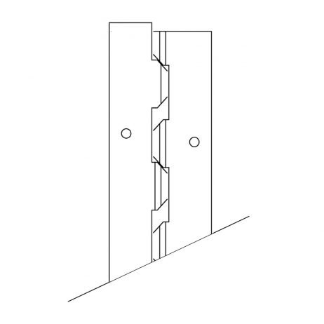 "Line drawing of a continuous stainless steel ""Helix"" hinge by Scranton Products."