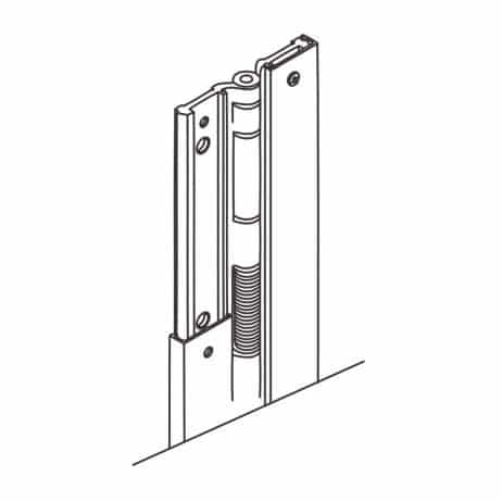 Line drawing of continuous aluminum spring hinge from Scranton Products.