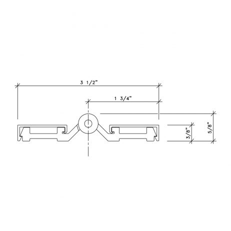 Dimensional drawing of continuous aluminum spring hinge from Scranton Products.