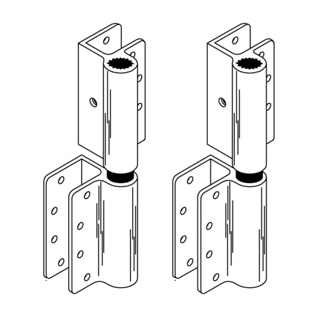 Line drawing of two wrap around hinges by Scranton Products.