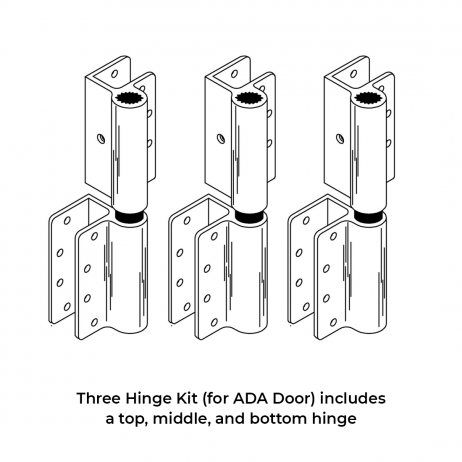 Line drawing of three wrap around hinges by Scranton Products.