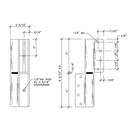 Additional dimensional drawing of wrap around hinge by Scranton Products.