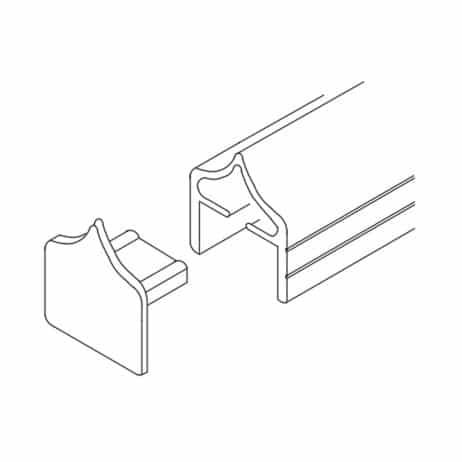 Line drawing of a plastic, press fit, headarail endcap from Scranton Products.