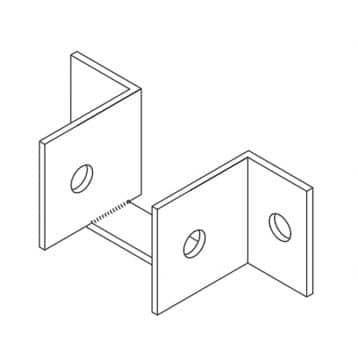 Line drawing of a metal headrail endcap from Scranton Products.