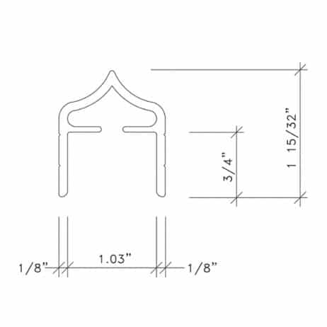 Dimensional drawing of metal headrail from Scranton Products.