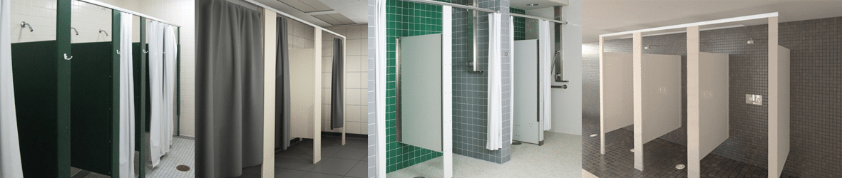Solid plastic shower partitions