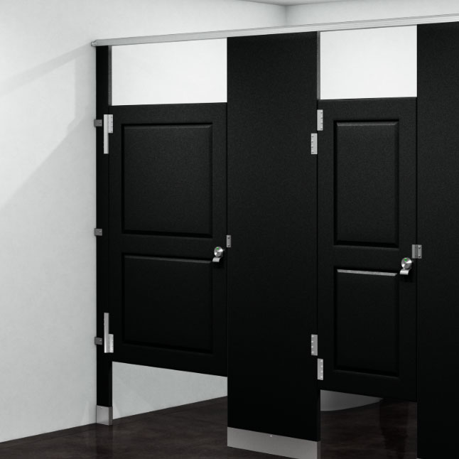 Rendering of toilet partitions with Signature Engraving