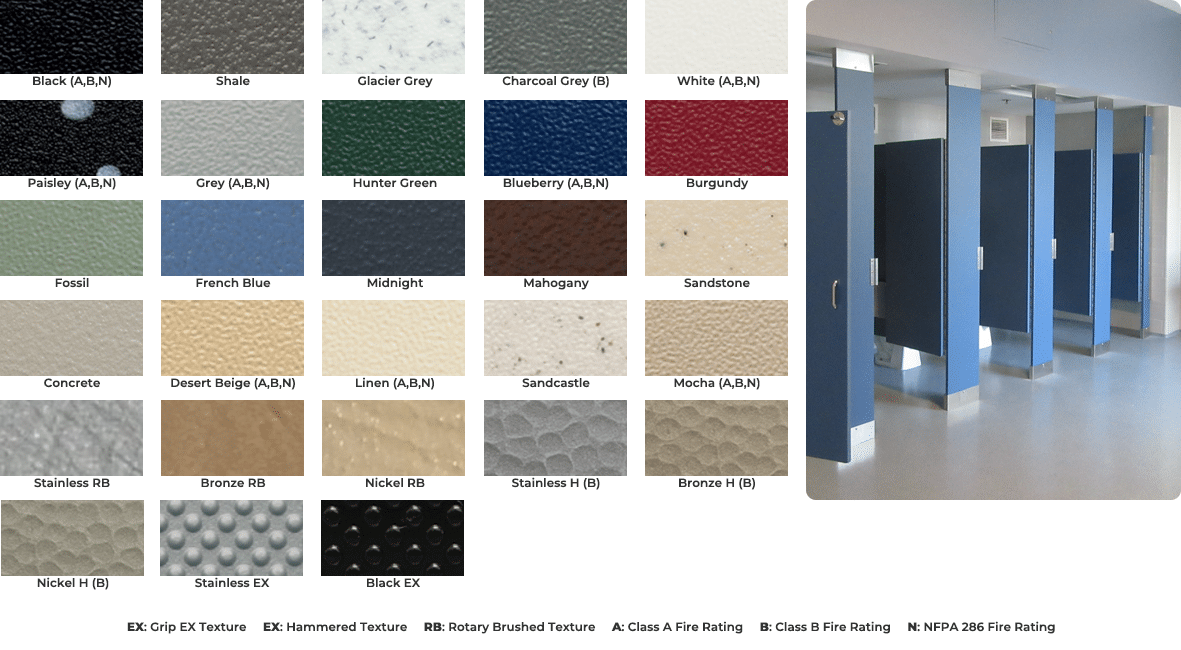 Color chart for solid plastic toilet partitions