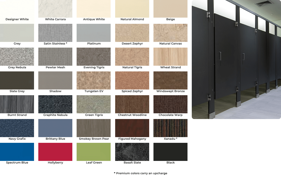 High pressure laminate color chart