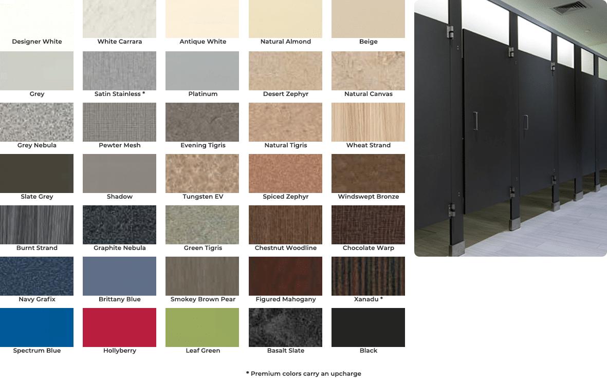 High pressure laminate color chart